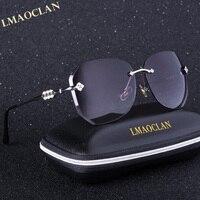 2017 Brand Design Gradient Sunglasses Women Ladies Shining Rimless Flower Decoration Sun Glasses Female Prismatic Eyewear