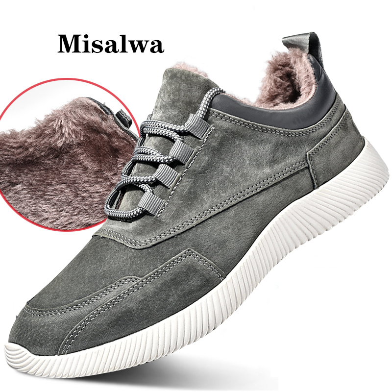Misalwa Winter Warm Youthful Men Sneakers Shoes 2020 Suede Leather Casual Shoes Men Loafers Breathable Outdoor Shoes Zapatos