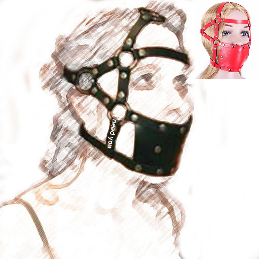 Leather Head Harness Mouth Gag Mask ,Hard Ball Mouth Gag,BDSM Bondage Restraint Accessories,Role Play System