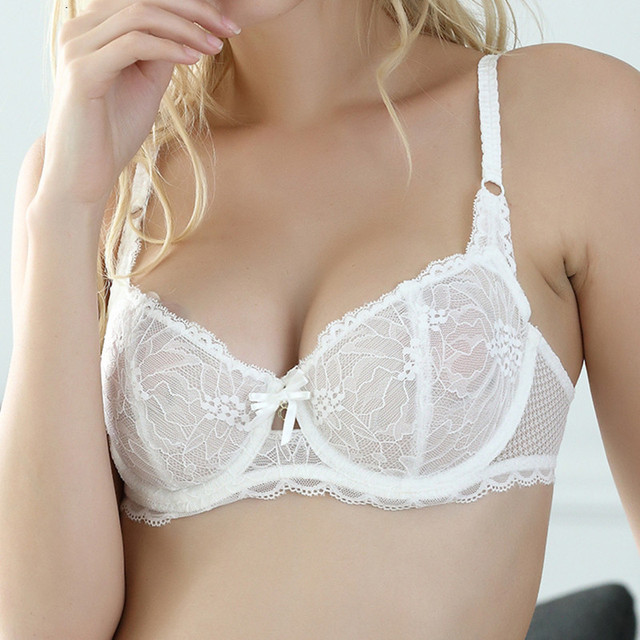 0f7d307485 Sexy lingerie set white lace women transparent bra set See Through Plus  Size bra 34 36 38 D cup brassiere embroidery underwear