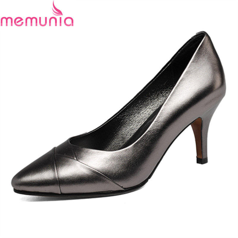 MEMUNIA spring autumn popular genuine leather dress shoes fashion stiletto high heels pointed toe black elegant women pumps memunia spring autumn popular genuine
