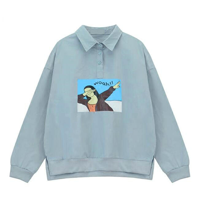 College wind cartoon printing hedging loose long sleeved shirt female autumn
