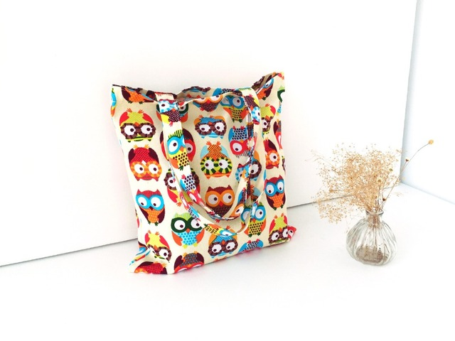 Fashion Women Canvas Handbag Casual Big Tote Bag Cartoon OWL Appliques Designer Handbags Sac a main Bolsos Mujer Bolsa Feminina