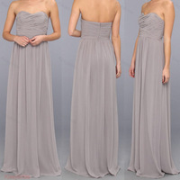 2014 New Modern Sweetheart Ruched Top Floor Length Grey Bridesmaid Dresses Long Free Shipping