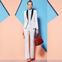 cd9e1bbd23 Azul real 2 piezas conjuntos negro de las mujeres de negocios pantalones  trajes formales Slim Oficina