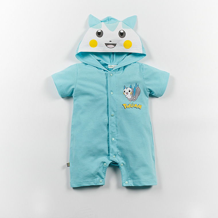 Baby Rompers Cartoon Character bebe Rompers For Baby Boy And Girl Hooded Short Sleeve Cotton Jumpsuit Clothing Summer Clothes