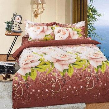 EsyDream Твин Размер цветочное постельное белье, король размер комплекты постельного белья с цветами, королева размер 3D картина маслом Простын...
