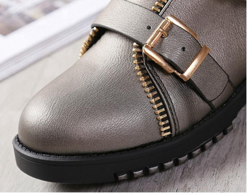 COOTELILI Fashion Zipper Boots Women Shoes Woman Ankle Boots For Women 4cm Heel Winter Autumn Rubber Boots Women 35-40 (2)