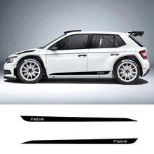 2 шт. Fabia автомобильные боковые полосы боковые юбки графика виниловые наклейки гоночный спортивный автомобиль наклейка s для Skoda Fabia Combi Monte