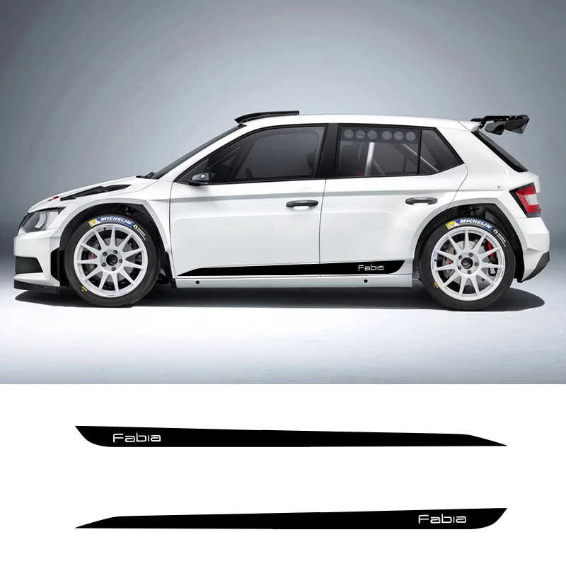2 PCS Fabia Car Side Stripes Side Skirts Graphics Vinyl Sticker Decals Racing Sport Car Stickers For Skoda Fabia Combi Monte