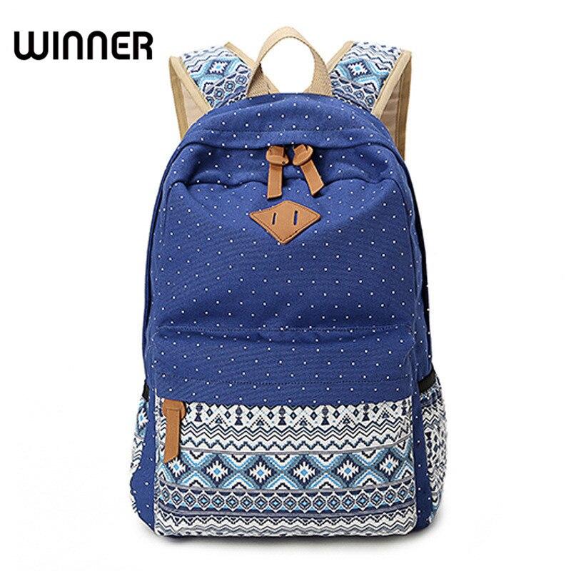 Vintage School Bags for Teenagers Girls Schoolbag Large Capacity Lady Canvas Dot Printing Backpack Rucksack Bagpack
