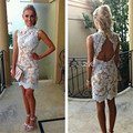 Dressgirl White Champagne Cocktail Dresses 2017 Sheath High Collar Open Back Lace Sexy Short Mini Homecoming Dresses