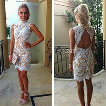 Dressgirl Weiß Cocktailkleider Champagne 2017 Mantel Hoher Kragen Open Back Lace Sexy Short Mini Homecoming Kleider