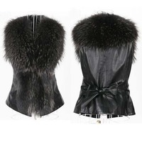 OLGITUM 2018 Hot Sale Imitation Fur Vest Fur Coat New Autumn And Winter Women Short PU