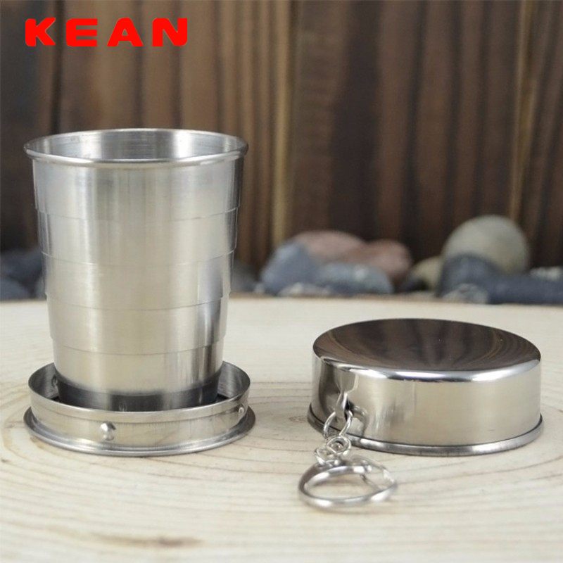 1pcs Large Silver Retractable Folding Cup Portable Stainless Steel Outdoor Travel Foldable Water Cup with Lid & Key Ring -FE