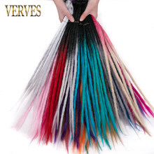 VERVES 5 Strands Handmade Dreadlocks Hair Extensions 24 inch Ombre Crochet Hair color Synthetic Crochet Braid Hair For Women(China)