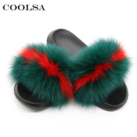 Coolsa New Brand Women Fluffy Fur Slippers Real Fox Animal Fur Slides Flat Plush Warm Couple
