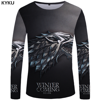 KYKU Marca Game Of Thrones T shirt A manica Lunga Il Film Divertente T shirt 3d T-Shirt Tshirt Tops Abbigliamento Uomo Hip hop Punk Mens