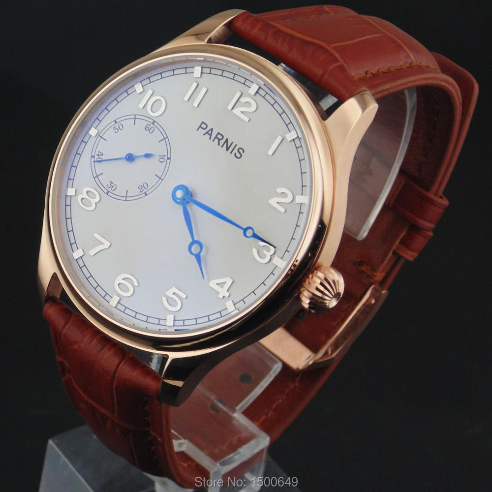 Image 3 - 44mm Parnis white Dial blue hands case Mechanical 6497  Hand 