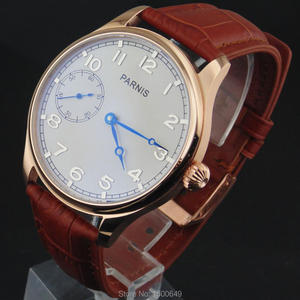 Image 3 - 44mm Parnis white Dial blue hands case Mechanical 6497  Hand Winding mens Watches