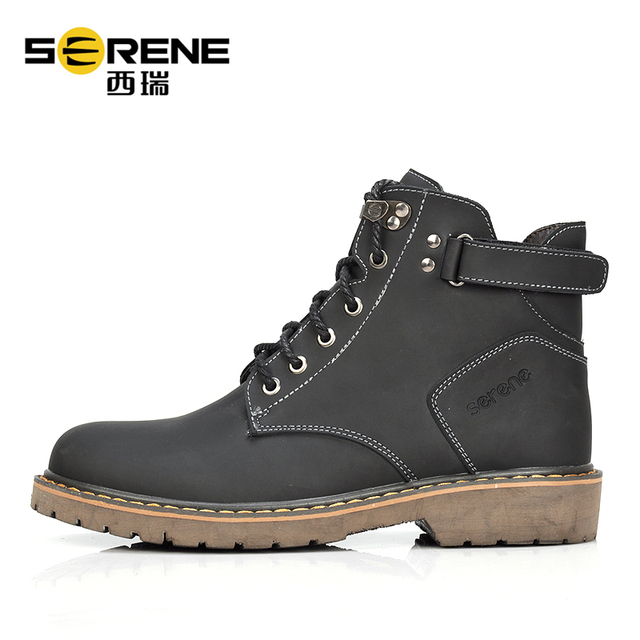 Combat Boots Men Genuine Leather Breathable Shoes Lace-up Buffalo Causal Footwear Winter Boots Waterproof Rubber Snow Boots
