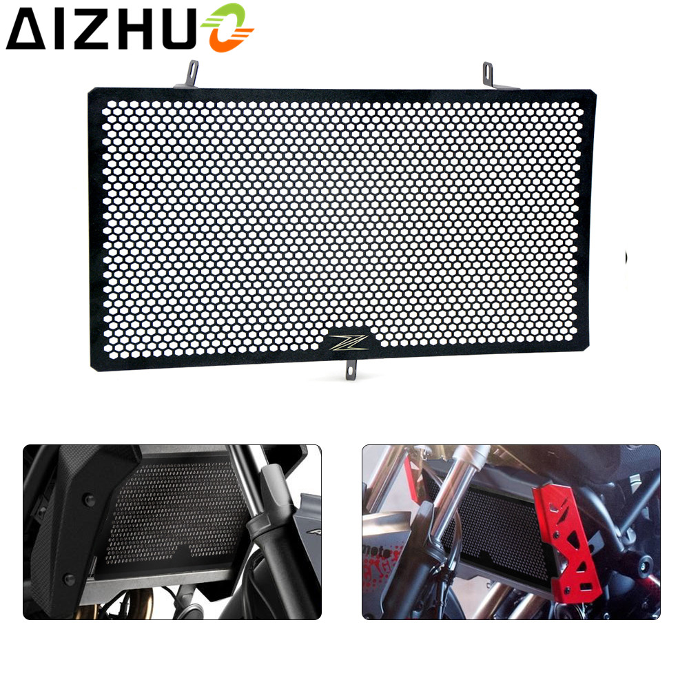 with Z logo motorcycle Radiator Grille Protector Cover Stainless Steel Radiator Guard for Kawasaki Z750 Z800 Z1000 NINJA 1000 for kawasaki z900 2017 motorcycle radiator guard gloss stainless steel grille bezel radiator net protective cover