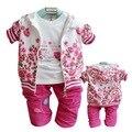 Bebés Que Arropan Algodón de la Muchacha de Flor Del Bebé Recién Nacido Ropa Coat + t-shirt + pants Otoño Primavera el Juego del bebé