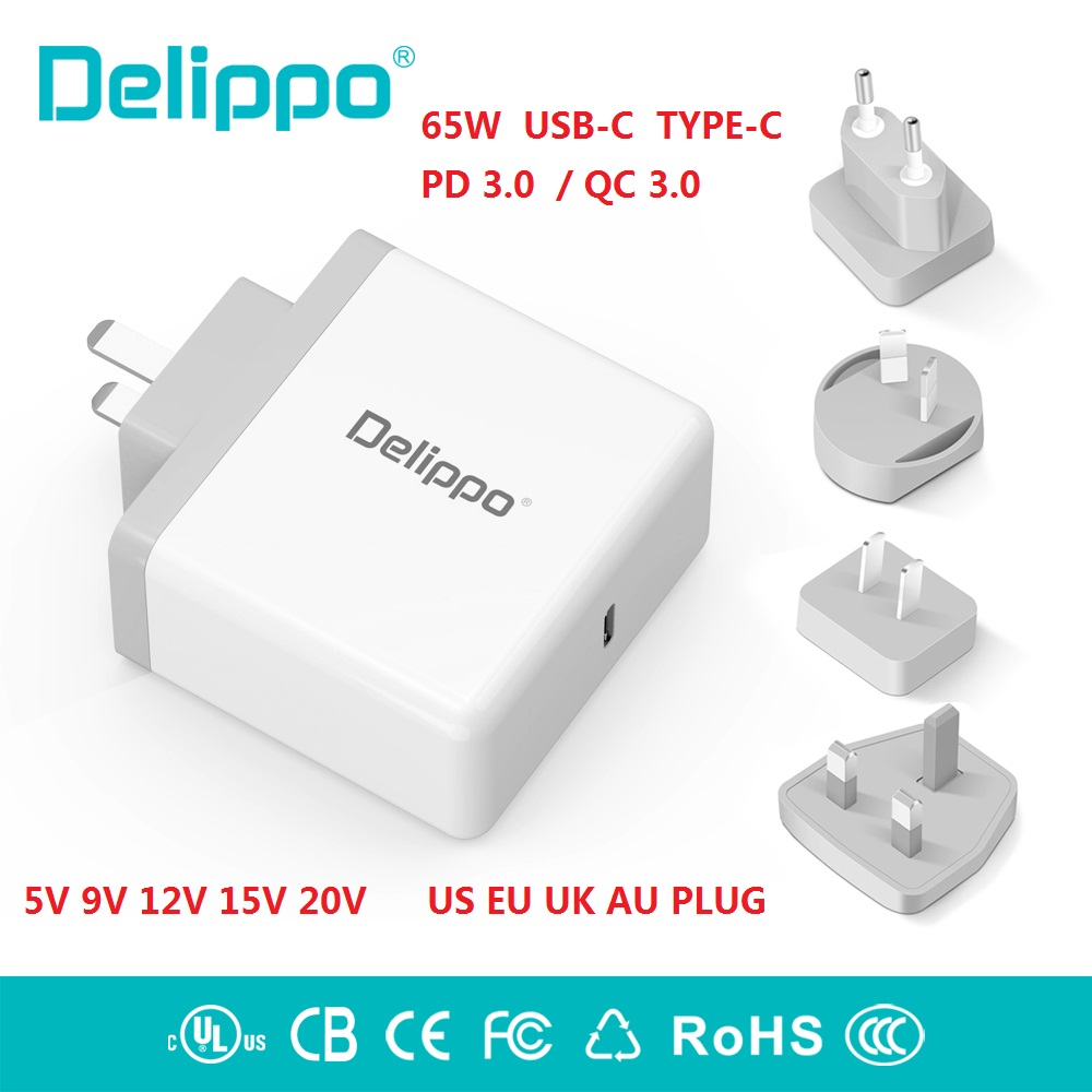 Delippo 65W USB C Type C PD3.0 Wall Charger Power Supply laptop Adapter Charger for HP Elite X2,Samsung Tabpro s XIAOMI ,Google