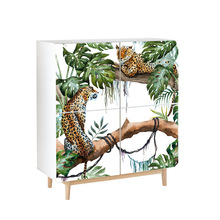 Tropical leopard sticker PVC self-adhesive bedroom waterproof storage cabinet Furniture renovation decoration