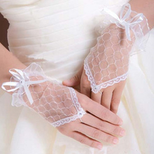 1 Pair Women Lace Wedding Gloves Net Yarn Bow Knot Fingerless Bridal Decoration Accessories Favors 3 Colors