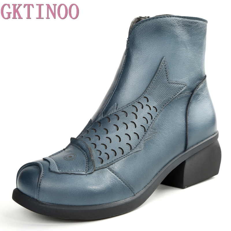 GKTINOO High Quality Handmade Thick Heel Women Shoes Genuine Leather Women Boots Martins Winter Vintage Ankle Boots Botas Mujer 2018 high quality handmade thick heel women shoes genuine leather women boots martins winter vintage ankle boots botas mujer