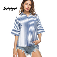 Saiqigui Blusa 2018 Spring New Arrive Streetwear Womens Shirt Ropa Mujer Slim Striped Patchwork Large Size