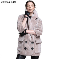 Vintage Genuine Shearling Fur coats Breasted Pocket Cool Chic Lady Fashion Over size Warm Winter Real Fur Women Coats For Women