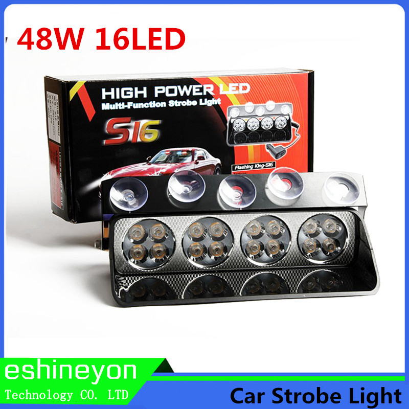 16 LED 48W Windshield Led Strobe Light Auto Flasher Signal Emergency Fireman Police Beacon Warning Lights