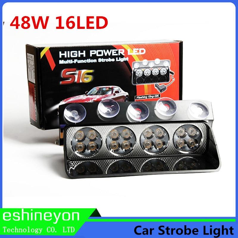 16 LED 48W Windshield Led Strobe font b Light b font Auto Flasher Signal Emergency Fireman
