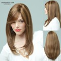 Synthetic hair long brown wigs blonde highlights peluca natural straight side bangs for womens cheap party full wigs perruque