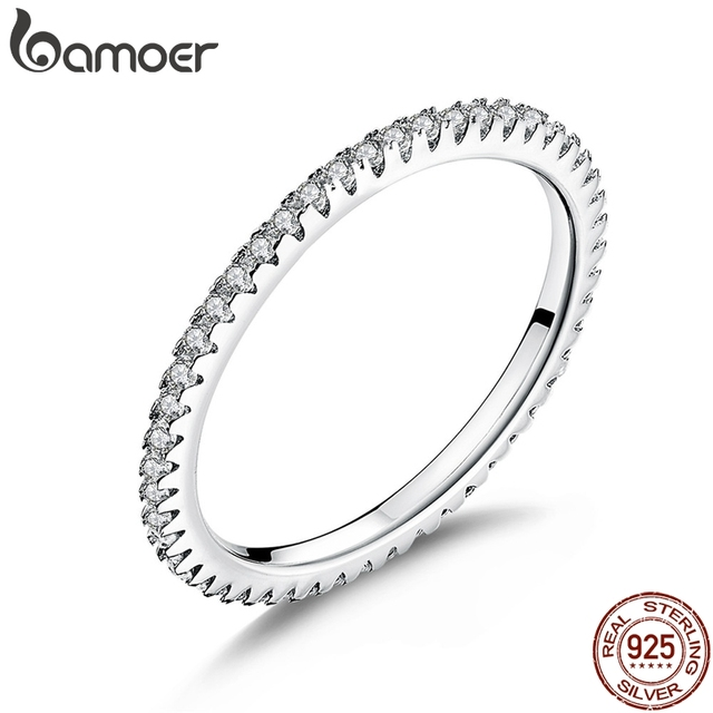 BAMOER 925 Sterling Silver Pink Crystal Wedding Female Rings for Women Simple Geometric Ring Sterling Silver Jewelry SCR066 1