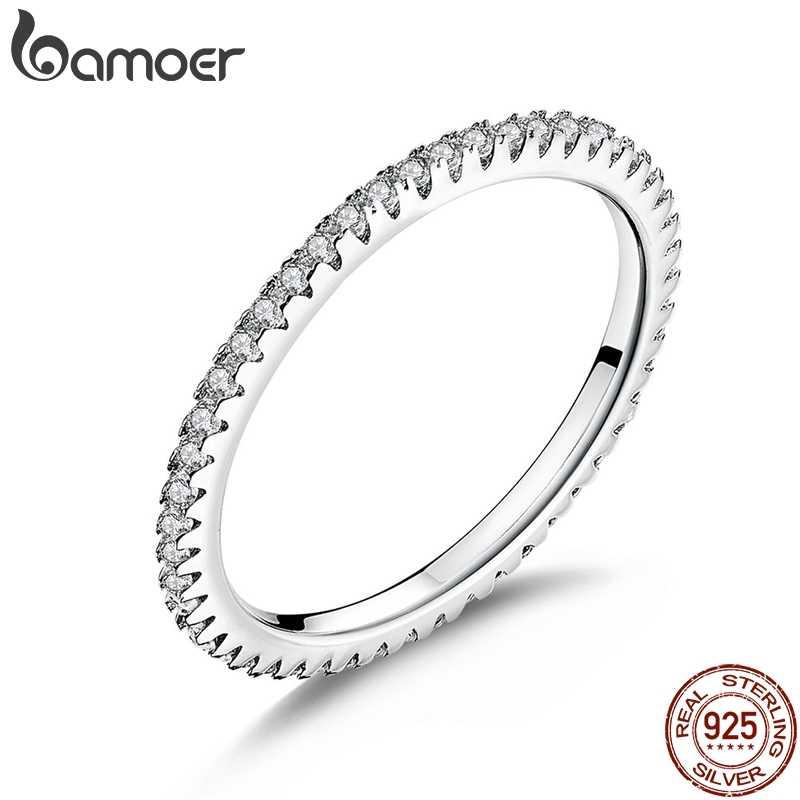 BAMOER 925 סטרלינג כסף ורוד קריסטל חתונה נקבה טבעות לנשים פשוט גיאומטרי טבעת סטרלינג כסף תכשיטי SCR066