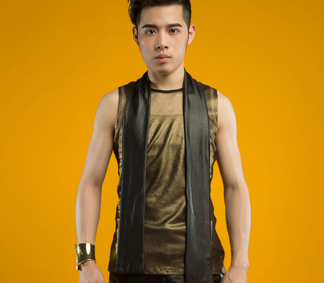 2015 new fashion brown Knitwear casual slim fit male sleeveless vest men rock dj singer ds stage wear costume in summer