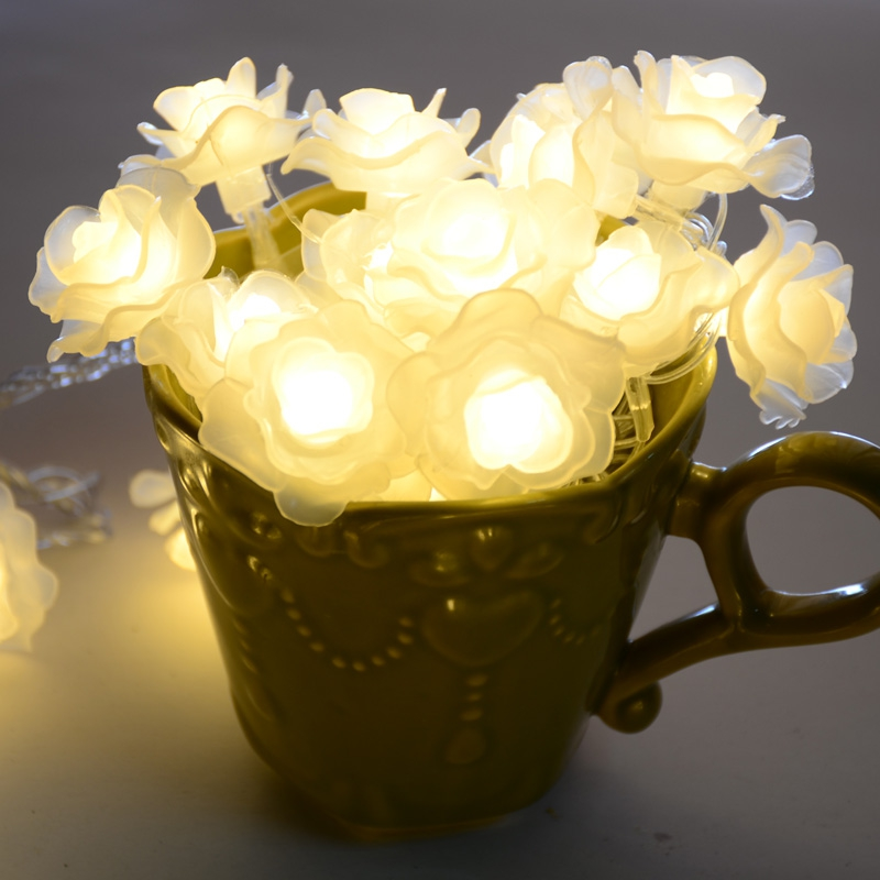 10M 50LED Romantisk Rose Flowers LED String Jullampor utomhus Fairy - Festlig belysning - Foto 2