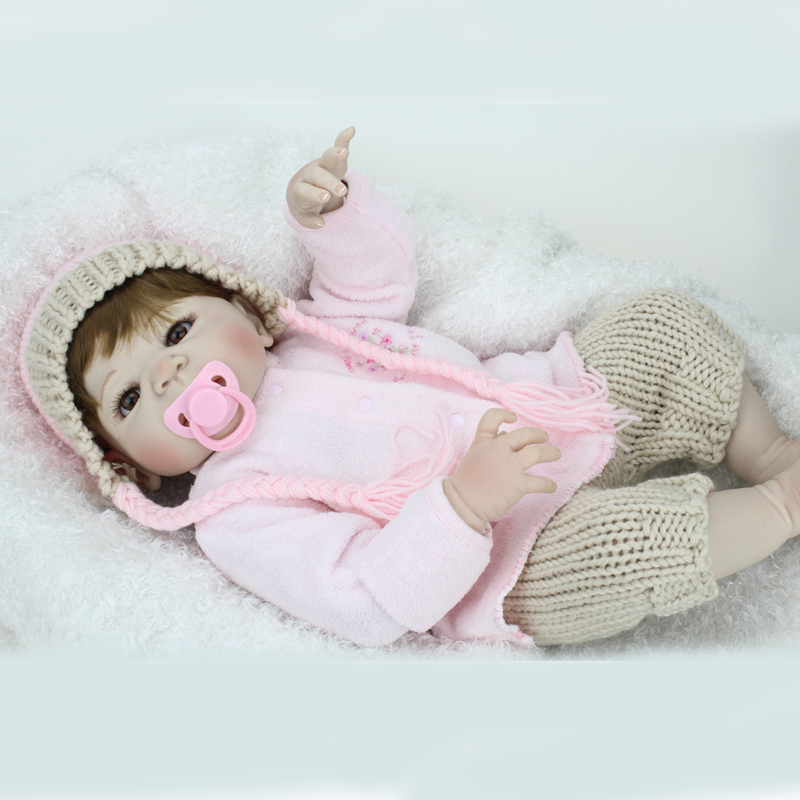 22 inches New arrival Handmade Silicone vinyl pink Lifelike toddler Baby Bonecas girl kid doll bebe reborn menina de silicone 20 inches handmade doll reborn lifelike american girl newborn bebe dolls silicone vinyl baby toddler toy kids new year gift