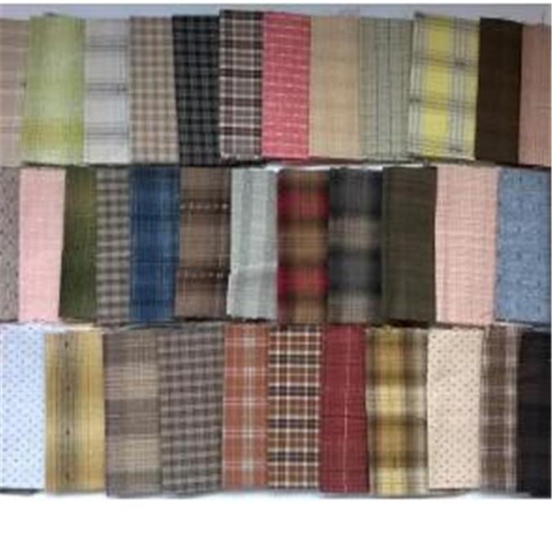 Diy japão pequeno grupo de pano fio-tecido tingido, para costura artesanal retalhos estofando, grade listra ponto aleatório 20 estilo/lote 24*25