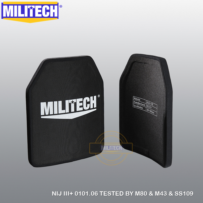 MILITECH Two Pieces Lot 10'' X 12'' Alumina & PE NIJ III+ Bulletproof Plate NIJ Level 3+ Stand Alone AK47 & SS109 & M80 Panels