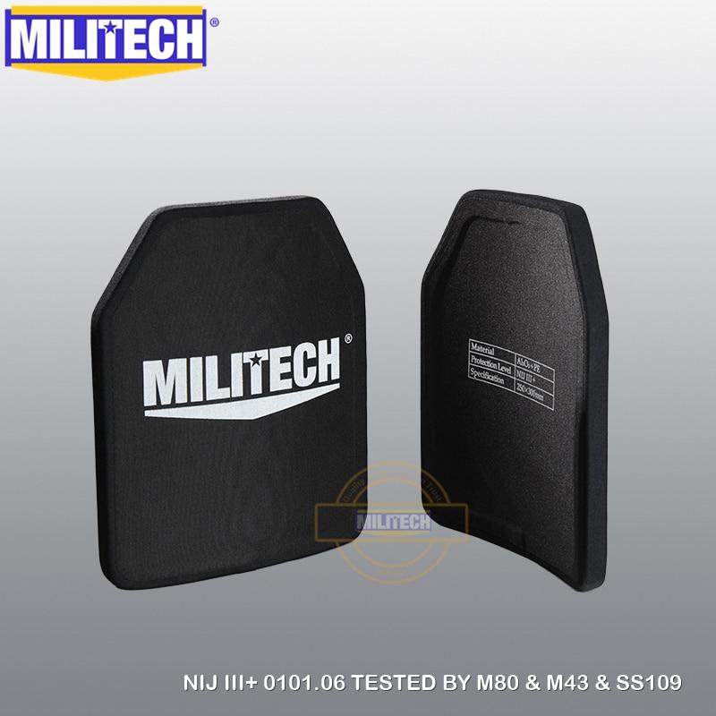 MILITECH Two Pieces Lot 10'' X 12'' Alumina & PE NIJ III+ Bulletproof Plate NIJ Level 3+ Stand Alone AK47 & SS109 & M80 Panels