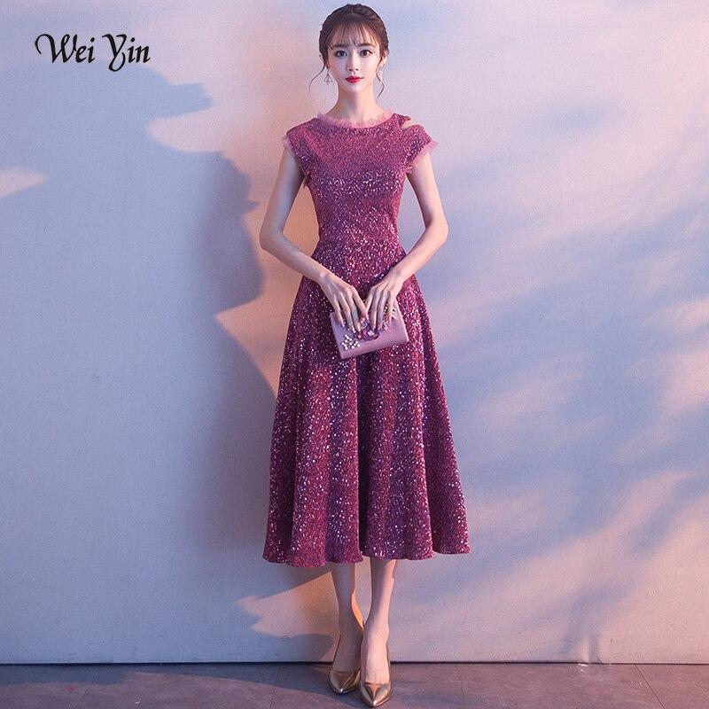 Weiyin bateau cou thé longueur robe de soirée 2019 nouveau sans manches formelle robes de bal Bestido de festa Abiye robe de soirée WY1561