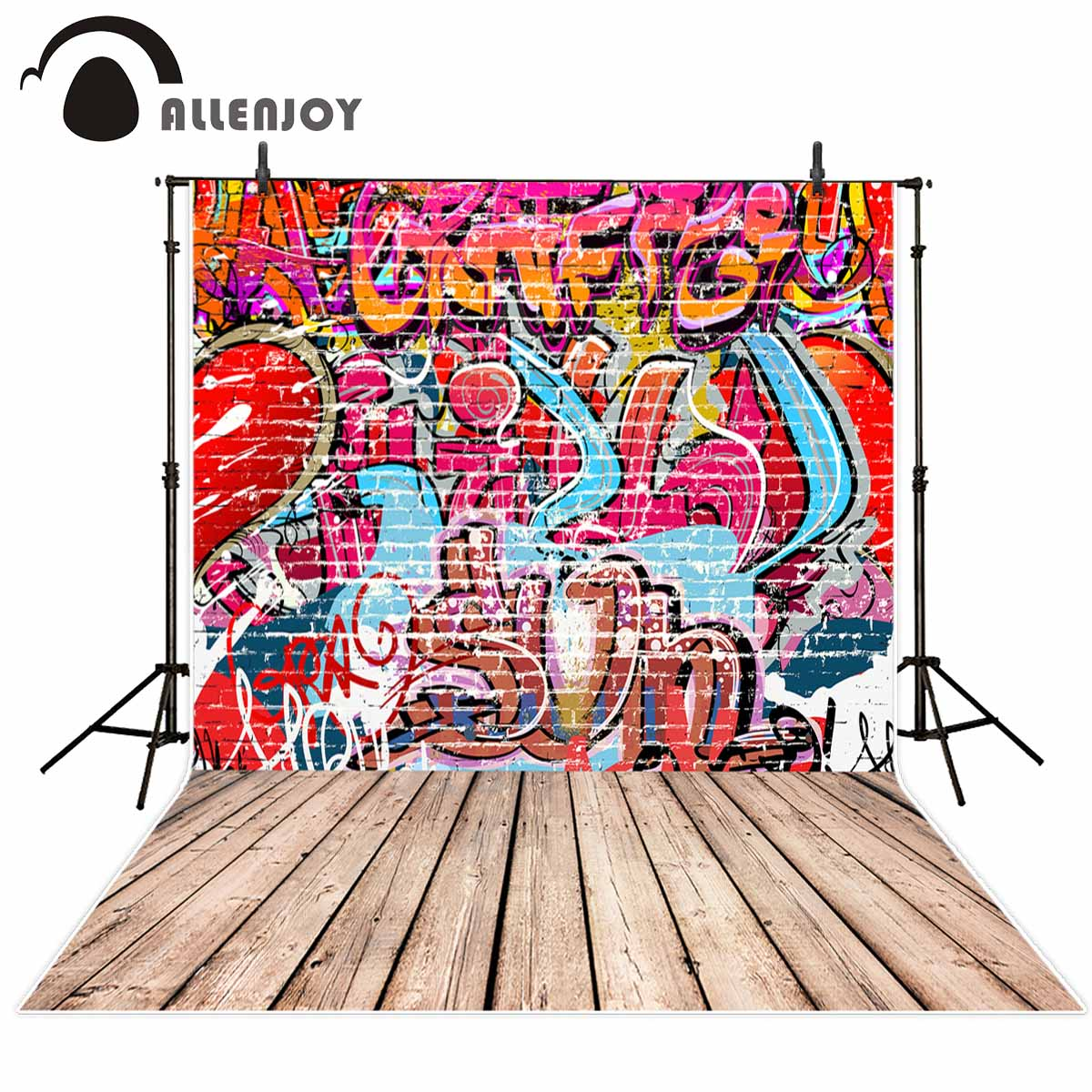 Allenjoy Graffiti backdrop cool red brick wall wood floor backdrop backgrounds for kids for photo studio photography background allenjoy photography backdrops white and gray brick wall brick floor backgrounds for photo studio photography studio backgrounds