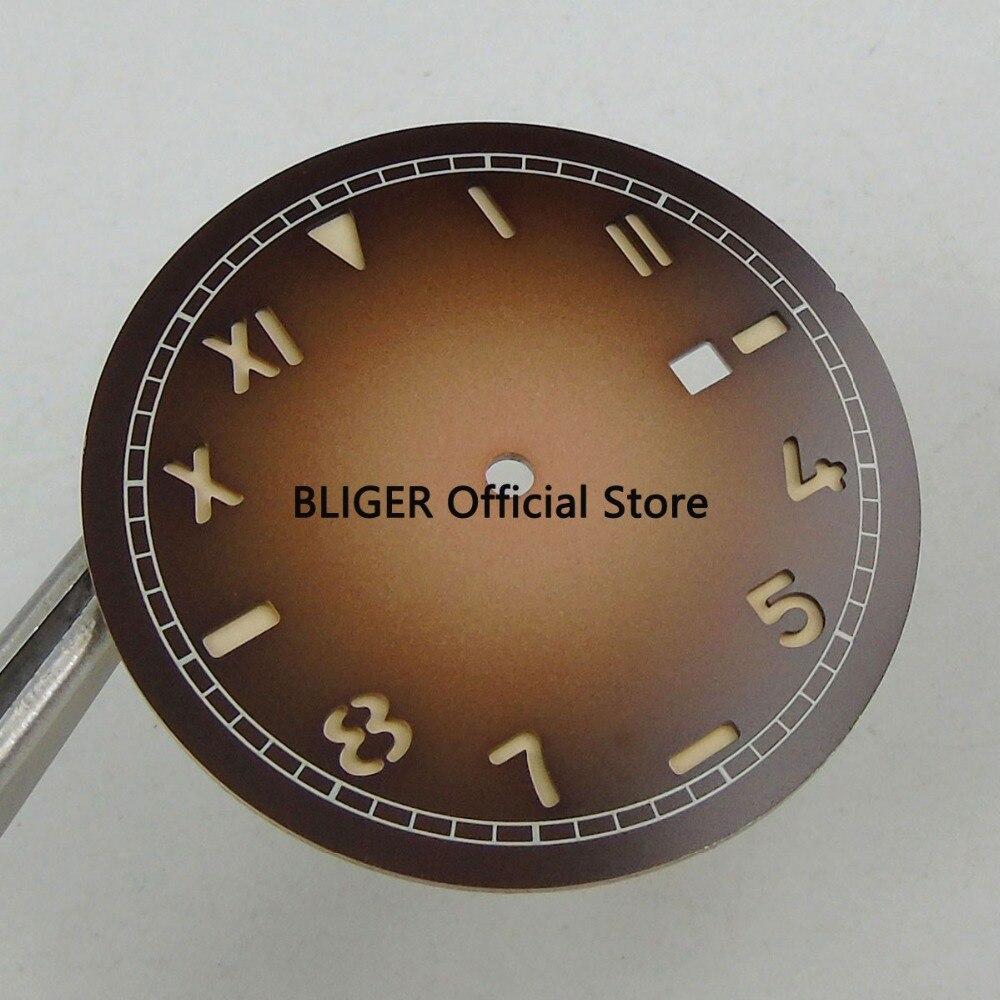 36.1mm Coffee No Logo Luminous Marks Date Window California Watch Dial Fit For Miyota 8215 Mingzhu 2813 Movement