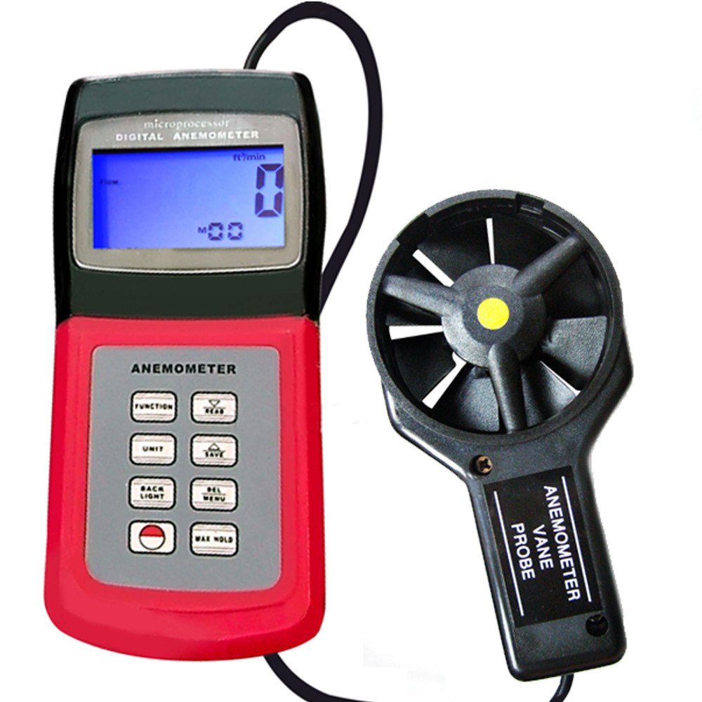 Multi-function 3-range Digital Thermo Anemometer Speed Air Wind Flow Temperature Velocity Beaufort Scale Weather Analysis Meter peakmeter ms6252b digital anemometer air speed velocity air flow meter with air temperature humidity rh usb port