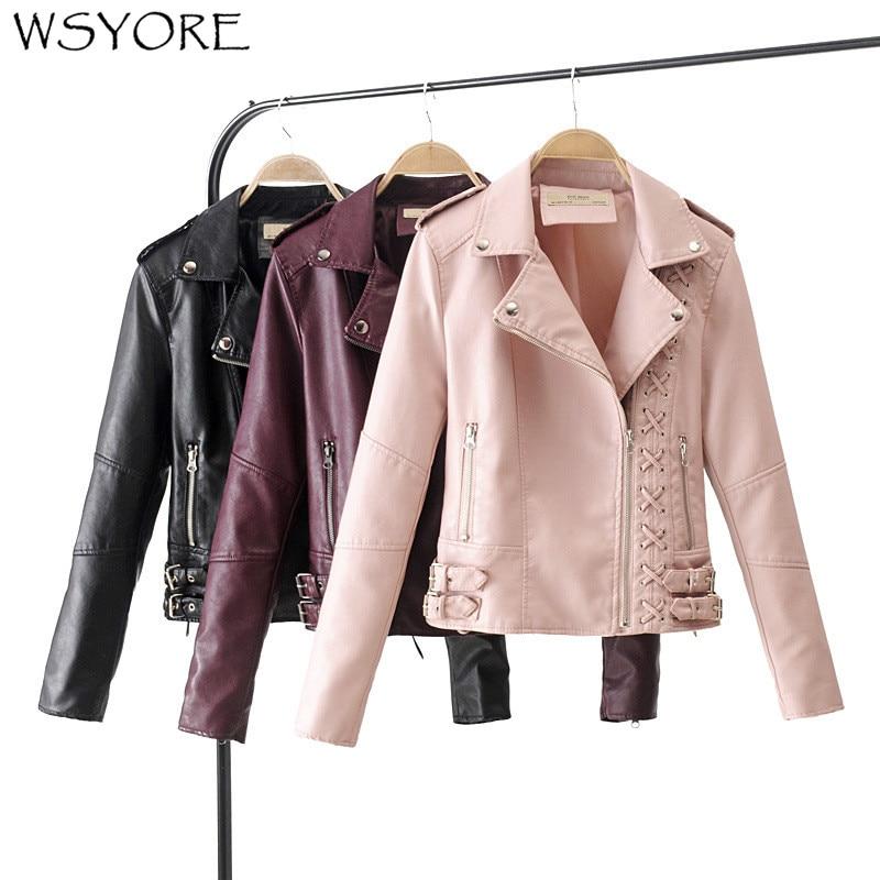 WSYORE Motorcycle PU   Leather   Jacket Women 2019 New Autumn and Winter Fashion Bandage Faux   Leather   Biker Jacket NS321