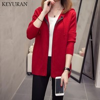 mujer good quality cardigan women coat hooded brand design comfortable wool knit wear womens Red cardigan Zip sweater plus size